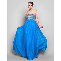 vaina / columna de gasa sin tirantes piso de longitud vestido de noche con lentejuelas y / prom (722101) – USD $ 129.99