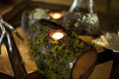 Putting candles in something like this would give them a woodland feel