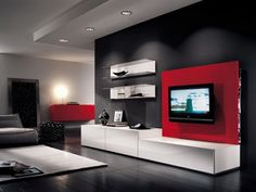 Long White Wooden Table On The Black Wooden Flooring Completed With White Shelves And Red Wall Panel With Television, Completing Your House By Excellent Modern Style Living Room Furniture: Living Room