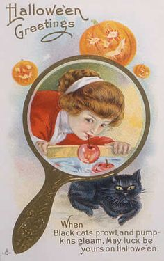 Despite its roots in European paganism, Halloween is a thoroughly American holiday. During the Gilded Age, Americans took Halloween quite seriously, even going so far as to celebrate it wherever th… Bobbing For Apples, Old Greeting Cards, Halloween Greetings, Gilded Age, Halloween Masks, Hallows Eve, Vintage Halloween, Vintage Postcards, Pagan