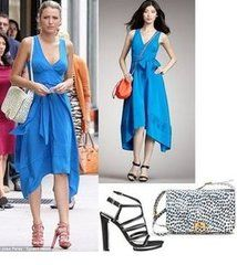 What She's Wearing  Marc by Marc Jacobs Micro Bow Tie Waist Dress : $239.00  Christian Louboutin Spring 2012 Chain Strap Sandals  Fendi Flap Shoulder Bag  High Infidelity