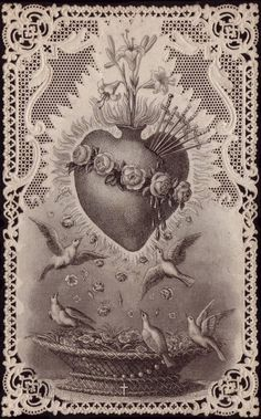 𝓦. — Antique Prayer Cards. Catholic Art, Religious Art, Coeur Tattoo, Manos Tattoo, Sacred Heart Tattoos, Jesus E Maria, Vintage Holy Cards, Herz Tattoo, Prayer Cards