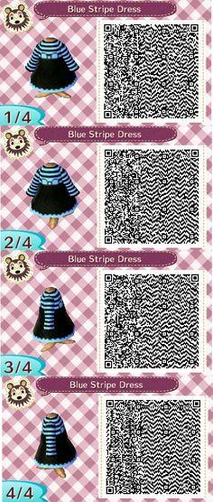 Animal Crossing New Leaf QR code blue and black stripe dress by Kimmi