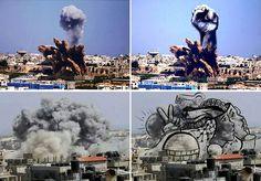 Artistas palestinos transformam fumaça das bombas israelenses em imagens poderosas
