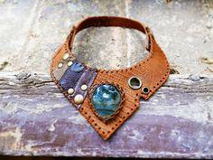 EUPHORIA 1.1 - handmade leather necklace with natural labradorite gemstone - Urban hippie pirate pixie burning man tribal talisman necklace