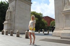 Caitlin Hartley of Styled American, white crop top, white mini skirt and yellow clutch http://styledamerican.com/favorite-looks-of-2015/