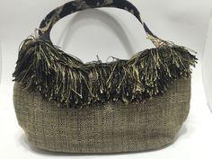 Brown Tweed Fringe Medium Size Tote Purse Bagolitas By Janice OOAK #BagolitasByJanice #TotesShoppers