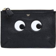 ANYA HINDMARCH Eyes Embossed Leather Pouch (8.755 CZK) ❤ liked on Polyvore featuring bags, handbags, clutches, black, black leather clutches, genuine leather handbags, zipper pouch, black handbags and black clutches