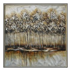 New 'Metallic Forest' Framed Painting by Red Barrel Studio. Wall Art Decor from top store Hand Painting Art, Painting Frames, Painting Prints, Forest Painting, Painting Canvas, Silk Painting, Art Encadrée, Art Mural, Boutique Hotels