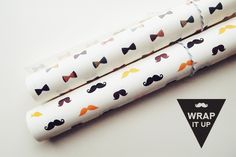 Papel Imprimible gratis con bigotes y pajaritas <3 >> Moustache and Bow Printable Wrappers by Design is Yay!