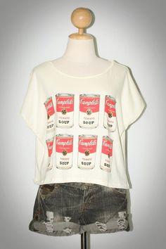 Sunday B Morning Warhol Campbell Soup Light Yellow Pop Art T-Shirt Size 2XL