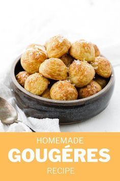 These delicious, cheese-filled puffed Gougéres are a French delight and so incredibly easy to make. They are perfect as a snack or alongside a main meal. Finger Food Appetizers, Finger Foods, Appetizer Recipes, Polenta Recipes, Cheese Recipes, Gougeres Recipe, Cup Of Cheese, Blue Cheese, Fun Baking Recipes