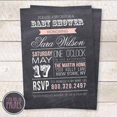 Chalkboard baby girl shower invitation, pink banner, typography, digital, printable file on Etsy, $13.50