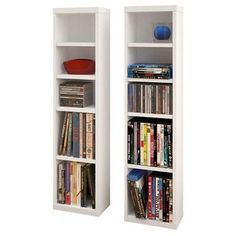 Nexera Liber-T Modular Design Your Own Storage and Entertainment System - CD/DVD Storage Towers - Set of 2 - White - 211003 Dvd Storage Tower, Cd Storage, Media Storage, Storage Cabinets, Storage Ideas, Media Shelf, Storage Units, Wood, Small Bedrooms
