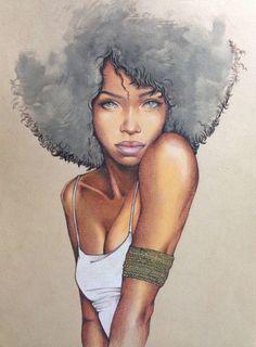 Black Women Art! – Barbara Kramer-'Mermaid'   Color Pencil