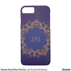 Elegant Royal Blue Gold Starry Wreath Monogrammed Case