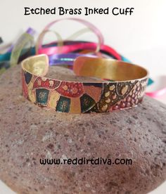 Etched Brass Abstract Boho Cuff by Red Dirt Diva