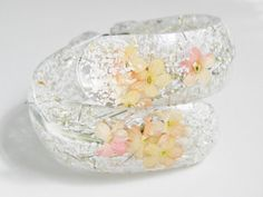 Vintage White Confetti Lucite Floral Clamper by GrandVintageFinery, $60.00