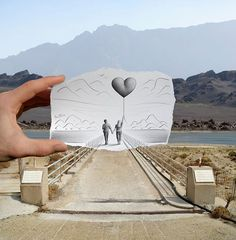"""Ben Heine, """"Pencil vs Camera"""" ...VERY cool way to make pictures...with meanings.."""