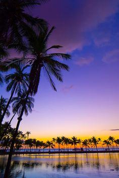 Sunset, Anaehoomalu Bay, Waikoloa Beach Marriott Resort & Spa, Waikola, The Big Island of Hawaii by Blaine Harrington III Big Island Hawaii, Vacation Destinations, Vacation Spots, Vacations, Kauai, Beautiful Sunset, Beautiful Places, Tahiti, Tropical Paradise