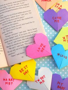 Origami Conversation Heart Corner Bookmarks