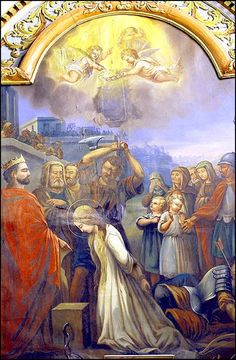 A painting of the Martyrdom of Saint Philomena at the church of Notre Dame in Plourin-les-Morlaix, at Bretagne, France.
