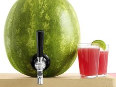 Pack a Punch : It's time to retire that old watermelon basket trick. Turn your melon into a cocktail keg, instead. Cut a lid from the top and scoop out the fruit. Drill a small hole near the bottom, then use a knife to widen the hole until it's slightly smaller than a keg shank. Attach the shank, then fill the melon with Watermelon Sours, adapted from The Bubbly Bar. The drink is pulp-free, so it won't clog the spout. via Food Network