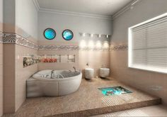Choices of Bathroom Designs:Special Girl Bathroom Designs–round Bathtub For Bathroom Designs