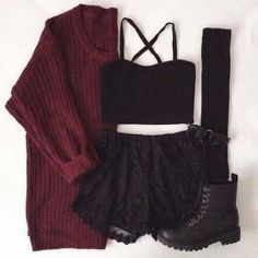 Image via We Heart It https://weheartit.com/entry/160042878/via/14239146 #autumn #burgundy #clothes #clothing #fashion #grunge #indie #outfit #outfits #autumnfashion #autumnoutfits