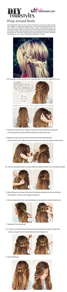 #DIY #Hairstyles Wrap Around Braid by #StephanieBrinkerhoff - view huge range of styles to try at home.
