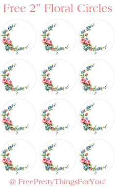 Labels: Free 2 inch Floral Shabby Circles - Free Pretty Things For You Free Label Templates, Labels Free, Free Printable Tags, Eid Stickers, Wedding Stickers, Circle Template, Circle Labels, Motif Vector, Eid Card Designs