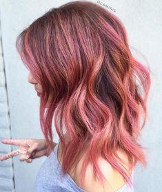 Medium+Length+Rose+Gold+Balayage+Hair