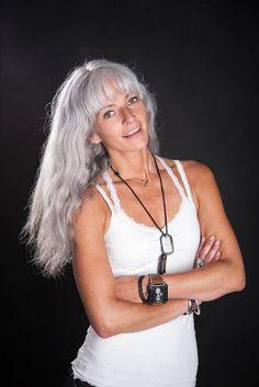 long grey hair with bangs - Google Search