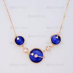 collar de piedra azul brillante en acero dorado inoxidable -SSNEG404030