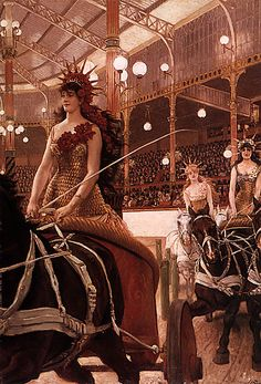 "The Ladies of the Chariots (c. 1883-85), by James Tissot. Oil on canvas, 57 ½ by 39 5/8"" (146 by 100.65 cm). Rhode Island School of Design Museum, Providence."