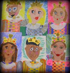 Cassie Stephens: In the Art Room: Royal First Graders self portrait, symmetrical crown, textured paper weaving, analogous color mixing, and patterns.