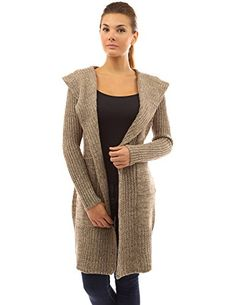 PattyBoutik Women's Hooded Pockets Knit Open Cardigan (Brown and Beige L)