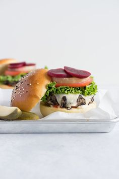 Black bean burgers with homemade brioche burger buns - the perfect meatless meal!