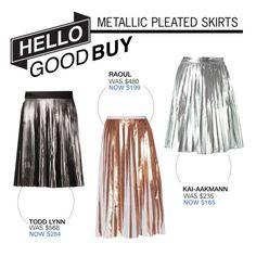 """Hello Good Buy: Metallic Pleated Skirts"" by polyvore-editorial ❤ liked on Polyvore featuring Raoul, Todd Lynn, Kai-aakmann, HelloGoodBuy, metallicpleatedskirt and hellogoodguy"