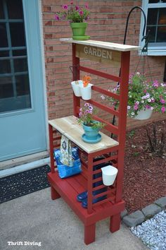Repurposed Toddler Bed Becomes a DIY Potting Bench!