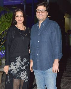 Sonali Bendre with husband Goldie Behl at Sajid Khan's birthday bash. #Bollywood #Fashion #Style #Beauty #Hot #WAGS