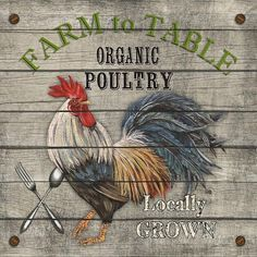 Trademark Fine Art 'Farm To Table Vintage Advertisement on Wrapped Canvas Size: H x W x D Chicken Signs, Chicken Art, Chicken Images, Chicken Humor, Rooster Art, Rooster Decor, Rooster Images, Ceramic Rooster, Rooster Painting