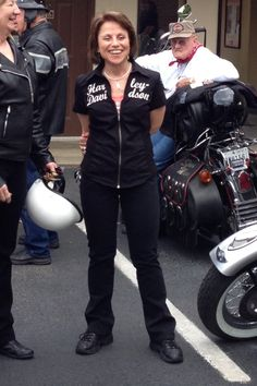 My sister, Shelly - I think we are in New Orleans at the Harley dealership.