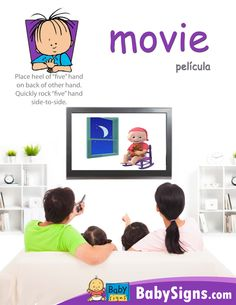 Sign of the week: Movie!  Do you and your little one have a favorite MOVIE that you enjoy watching together?  Next time you sit down to watch a MOVIE make sure you show your child the sign :)  http://www.babysignandplay.com