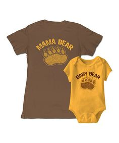 Brown 'Mama Bear' Tee & Gold 'Baby' Bodysuit - Infant & Women