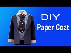 How to make a Paper Coat Easy Origami Jacket, Origami Shirt, Origami Dress, Paper Crafts Origami, Easy Paper Crafts, Origami Easy, Iris Paper Folding, Folding Money, Recycled Fashion