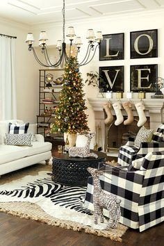 Black and white living room decorated for the holidays