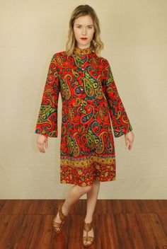 Vtg 70s Paisley Burnout Hippie Tunic Festival Caftan Boho Party Tent Dress S | eBay