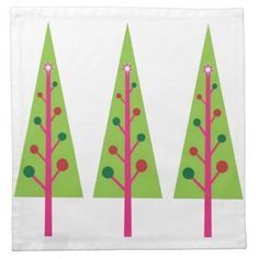 Christmas Trees Cloth Napkins #Christmas #Tree #Napkin