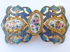 Large Antique Guilloche Enamel Buckle. Art Nouveau Gilt, Rose, Engraved